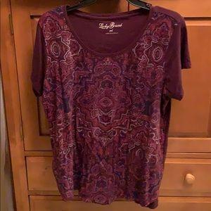 Lucky shirt sleeve boho pattern top xxl